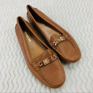 New Coach Olive Camel Leather Loafers Size 8